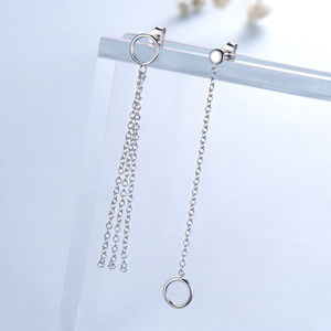 Silver rop Earrings For Women Wedding Long Dangle